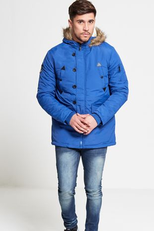Mens Brave Soul Blue Hooded Parka
