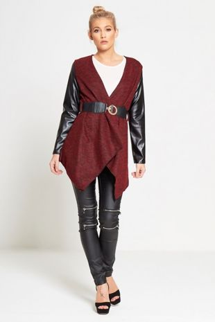 Red Marl Knit Belted Cardigan