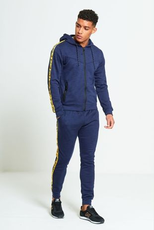 Navy Marl Tracksuit With Yellow Side Graffiti Detailing