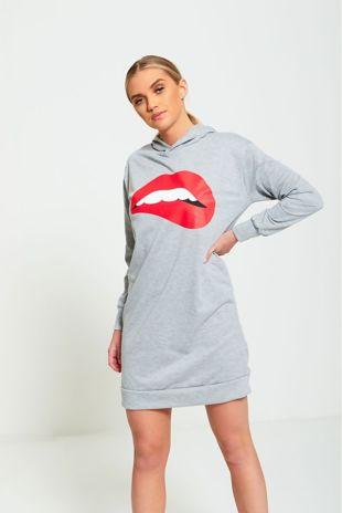 Lip Print Grey Jumper Dress