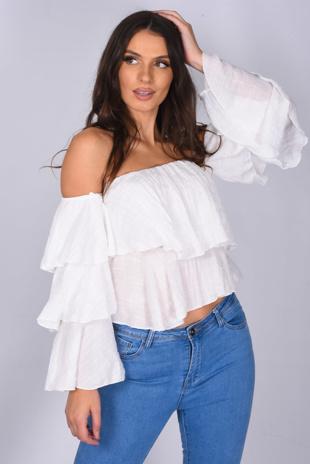White Linen Bardot Tiered Sleeve Crop Top