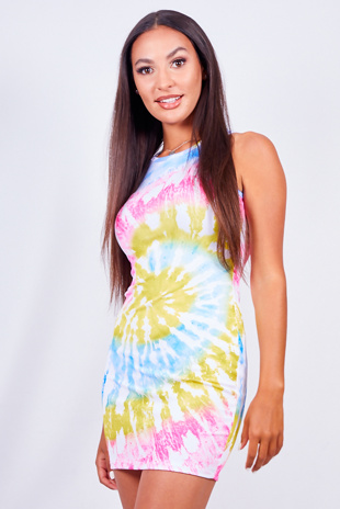 Pink Tie Dye Racer Rib Bodycon Dress