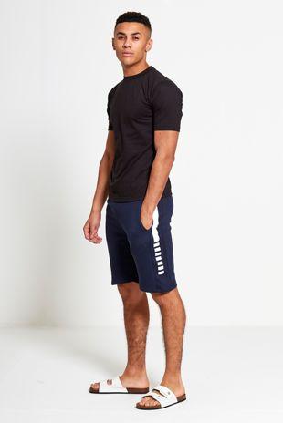 Navy Stripe Panel Sweat Short Set