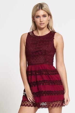 Wine Lace Overlay Mini Skater Dress