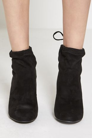 Black Faux Suede Heeled Ankle Boots