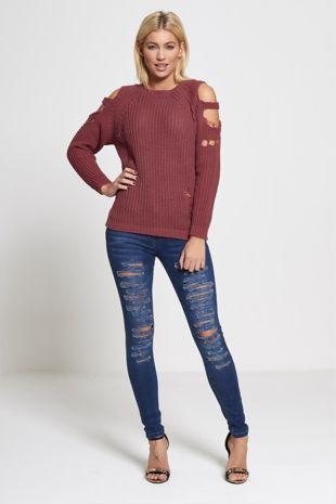 Purple Cold Shoulder Frayed Knit Jumper