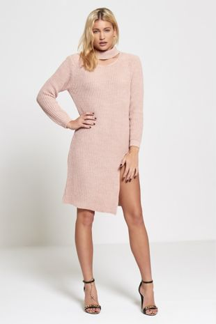 Choker Neck Knitted Jumper Dress-Copy