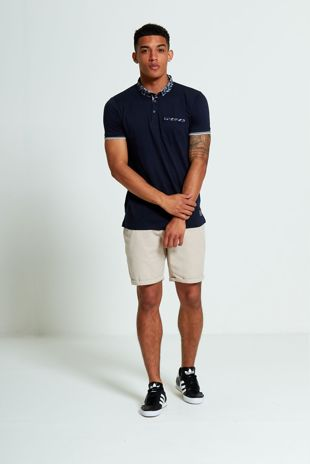 Navy Feather Print Polo Shirt