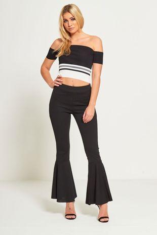 Black Ribbed Stretch Bardot Crop Top