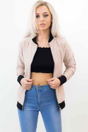 PEACH SUEDE EFFECT BOMBER JACKET