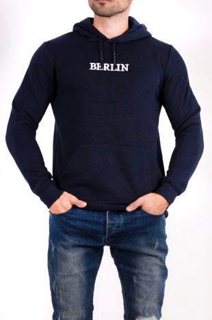 Mens Navy Berlin Slogan Hoodie