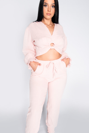 Pink Cheesecloth Ring Front Tie Blouse and Jogger Co-ord Set