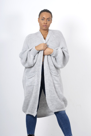 Light grey longline balloon sleeve knitted cardigan