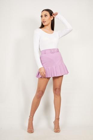 Lilac Ruffle Belted Mini Skirt