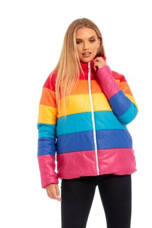 Multi-Coloured Rainbow Puffer Bomber Jacket