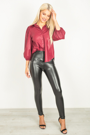 Wine Faux Leather Puff Sleeve Shirt