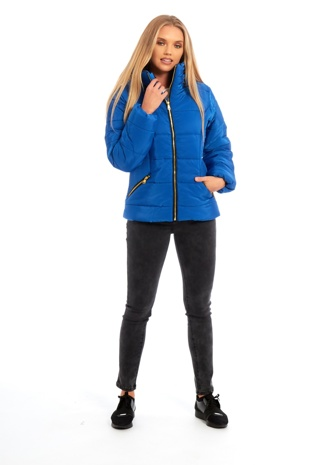 Blue High Neck Padded Puffer Jacket