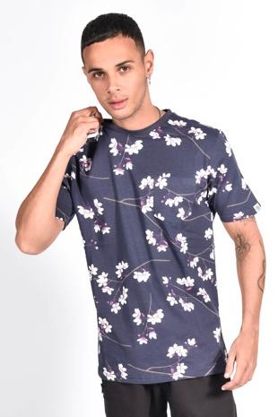 Mens Navy Floral Printed Pocket T-Shirt