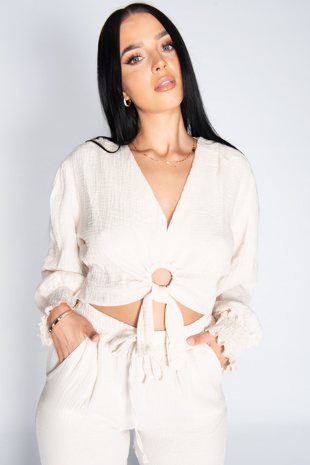 Stone Cheesecloth Ring Front Tie Blouse and Jogger Co-ord Set