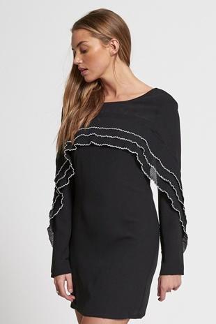 Black Layered Frill Mini Dress