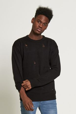 Black Diamond Ripped Knit Jumper