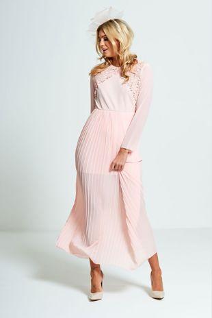 Pink Crochet Pleated Maxi Dress