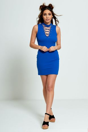 Blue Lace Up Front Bodycon Dress