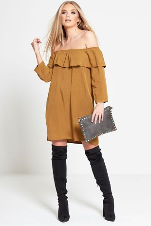 Brown Faux Suede Frill Bardot Dress