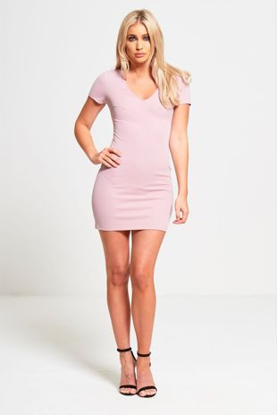 Pink Cut Out Lace Up Back Bodycon Mini Dress