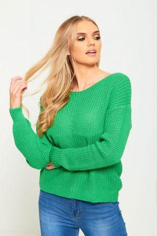 Green Twist Knot Knitted Jumper
