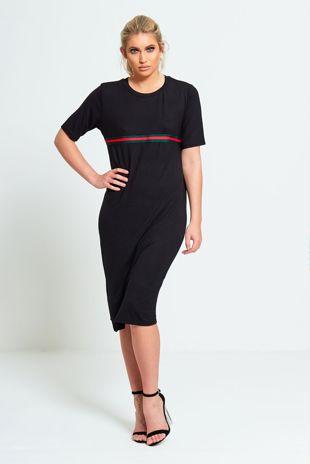 Black Basic T-shirt Dress With Stripe Detail