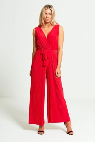Red Culotte Pleated Jumpsuit
