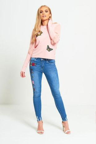 Pink Floral Embroidery Mesh Sleeve Knit Jumper