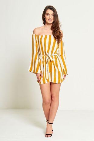 Mustard Striped Bardot Belted Dress