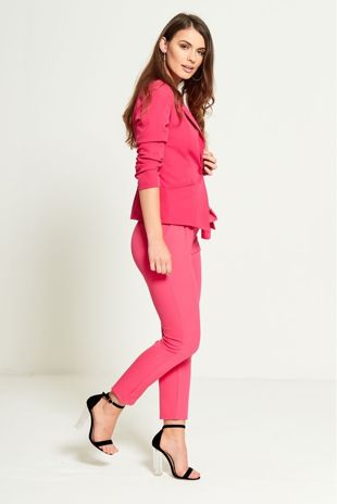 PINK RUCHED SLEEVES FITTED BLAZER
