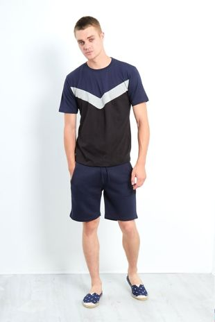 Navy Blue Contrasting Panel T-Shirt And Shorts Set