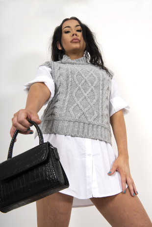 Grey cable knitted vest