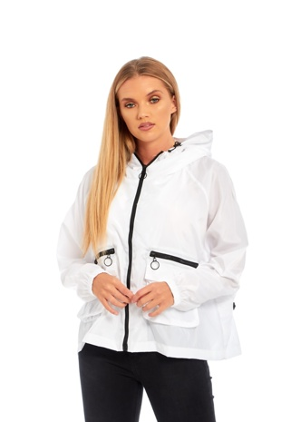 White Crop Cagoule Jacket