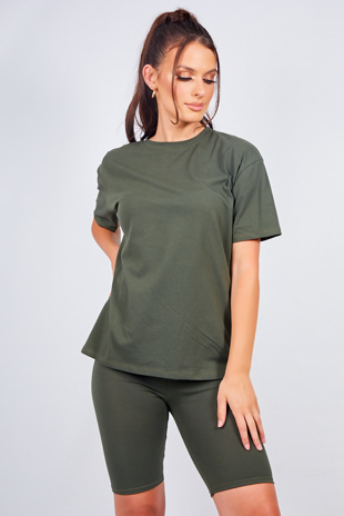 Khaki Oversized T-shirt And Cycling Shorts Lounge Set