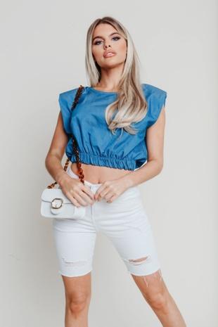 Hayley Hughes Modelled Denim Top With Shoulder Pads