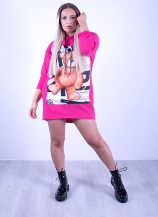Hot Pink Teddy Bear Hooded Pocket Jumper Dress