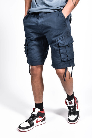 Mens Navy Manchester Utility Pockets Shorts
