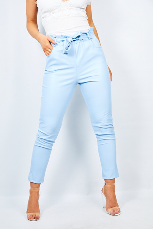 Aqua Pu Paperbag Waist Tapered Trouser