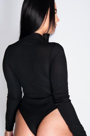 Black Rib Strappy Tie Back Bralet