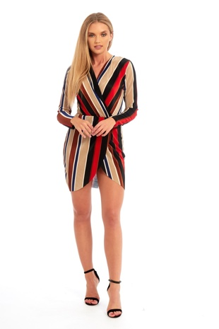Multicolour Pleated Mini Cross Over Dress