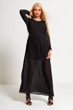 Black Crochet Pleated Maxi Dress