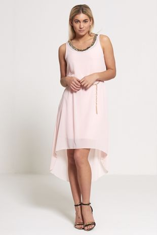 Pink Chiffon Waterfall Gold Neck Embellished Dress