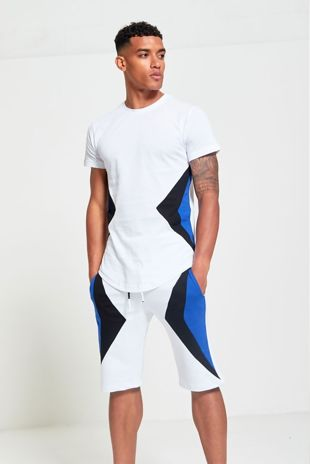 White Contrasting Sides T-Shirt And Shorts Set