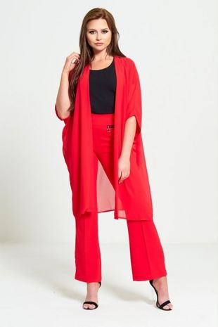 Red Half Sleeve Chiffon Cardigan