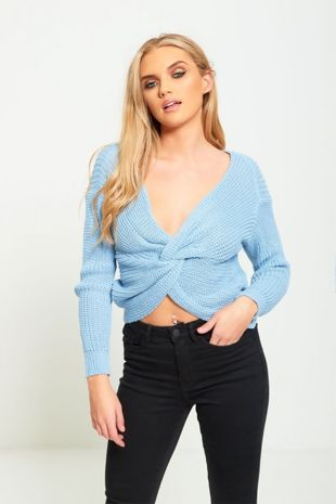 Blue Twist Knot Knitted Jumper